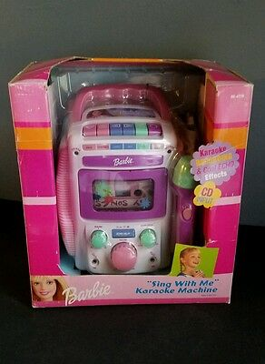 New Barbie Sing with Me Karaoke Machine includes mic cassette tape and CD input