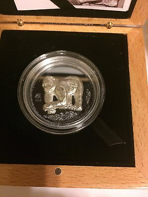 2016 Mongolia YEAR OF THE MONKEY - Black Proof Chinese Lunar Zodiac Silver Coin