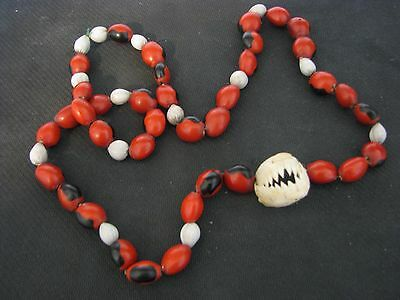 South American Amazon Bead Necklace with Authentic Piranha Jaw Teeth
