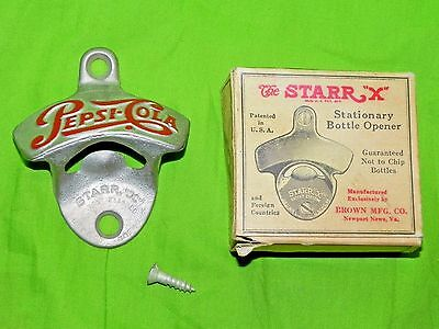 "Vintage Pepsi Cola Stationary Bottle Opener Starr ""x"" Mint in box"