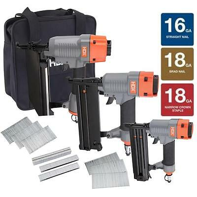 HDX HDX3PFKCB Finish Kit with 16-Gauge Finish Nailer 18G Brad Nailer & Stapler