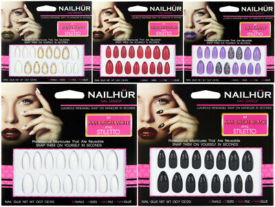 Nailhur Stiletto Designs #5 - Almond Press On Resusable Nail Tips Kit with Glue