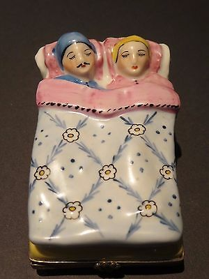 Limoges France Couple Sleeping in Bed Porcelain Hinged Trinket Box Pink & Blue