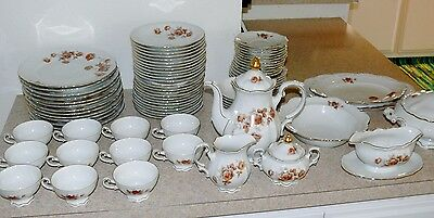 Vtg 92 Pc Mitterteich China Bavaria Germany Norway Rose Service for 12 & More