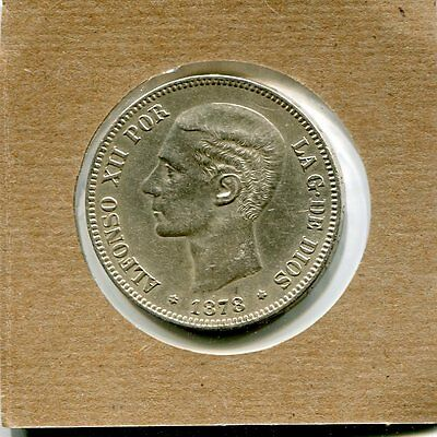 1878 Spain 5 Pesetas Silver Dollar Size Coin .900 Silver About Extremely Fine