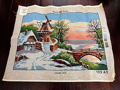 Vintage New W Tag France Royal Paris Unfinished Needlepoint Canvas Winter Scene