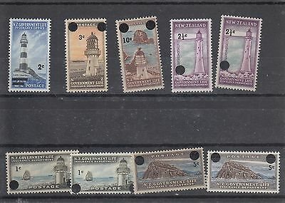 New Zealand MNH selection of 9 overprinted Lighthouse stamps cat £20.75