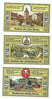 **1921 WURZBACH Germany Banknote- MOUNTAIN TOWN~ Complete Set German Notgeld UNC