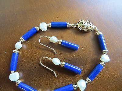 Middle Century Chinese Export Pearls/Lapis Gold tone Bracelet & Earrings set