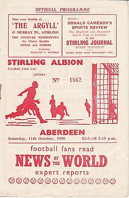 Stirling Albion v Aberdeen 11 Oct 1958
