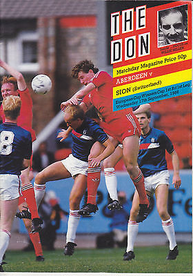 Aberdeen v Sion 17 Sep 1986 Cup Winners Cup