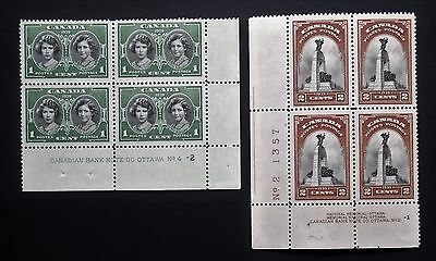 Canada Stamps 1939 Blocks Sg372-3 M.n.h.