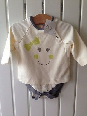 Baby Girls Clothes 0-3 Months - NEXT BNWT Smiley Face Top/Bodysuit Cute!!!