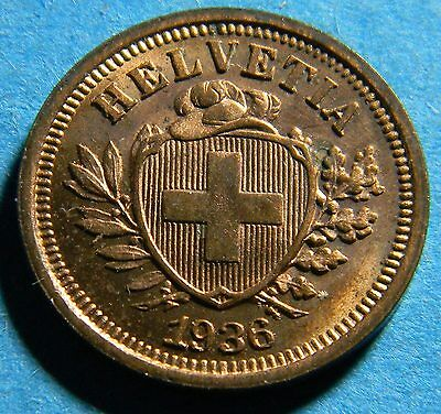 Switzerland 1936 1 Rappen coin  (Lot B-0532)  I combine shipping