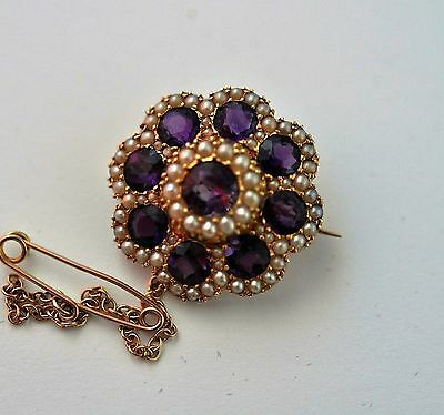 Antique Natural Seed Pearl Amethyst Lapel  Brooch Pin