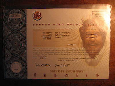 LOW # 770 - EARLY BURGER KING STOCK CERTIFICATE(Mcdonalds/Wendys/Collectable/Art