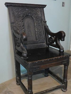 Antique Oak Carved Hall Chair gothic
