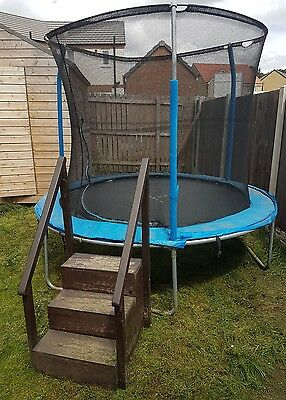 8ft trampoline with enclosure and handmade wooden steps