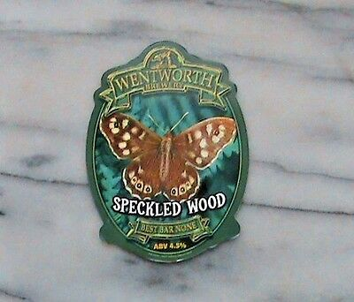WENTWORTH SPECKLED WOOD REAL ALE BEER PUMP CLIP SIGN Butterfly Theme