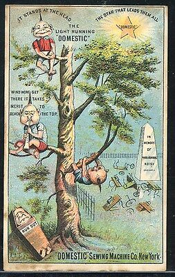 DOMESTIC SEWING MACHINE - Bizarre Elf Dwarves in Trees; VTC Victorian Trade Card
