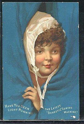 DOMESTIC SEWING MACHINE - Girl in Bonnet in Curtain; VTC Victorian Trade Card