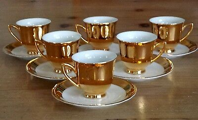 Vintage 12 Piece Gold And White Coffee Cup Set, Made In Czechoslovakia, Superb!!