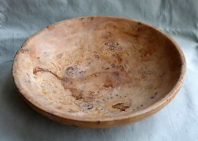 "Vintage Turned Olive Wood Shallow Bowl 9"" Diameter"