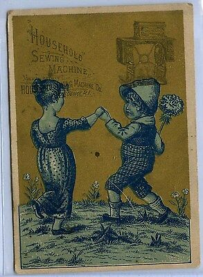 HOUSEHOLD SEWING MACHINES - Millford, MA; Children Dancing; Victorian Trade Card