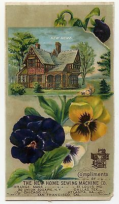 NEW HOME SEWING MACHINE 'New Home' Victorian Trade Card; Flowers; c1890