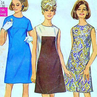 "Vintage 60s Mod DRESS Sewing Pattern Bust 36"" Size 12 RETRO Seam Interest A-LINE"