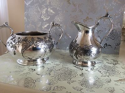 Antique Silver Plated floral Chased  milk jug  sugar bowl George Cutts Sheffield