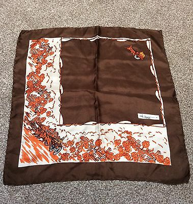 Silk Handkerchief Fittorio Hand Rolled Hems Carriage Design Brown Orange