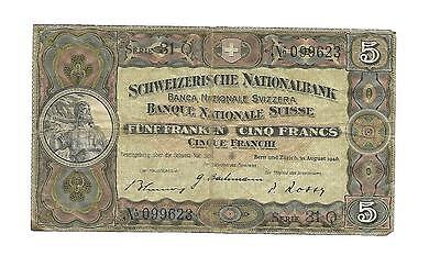 RARE 5 Swiss Francs Banknote  1946