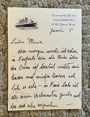 Letter Cunard White Star Line Queen Mary Liner Maritime Antique Not Titanic