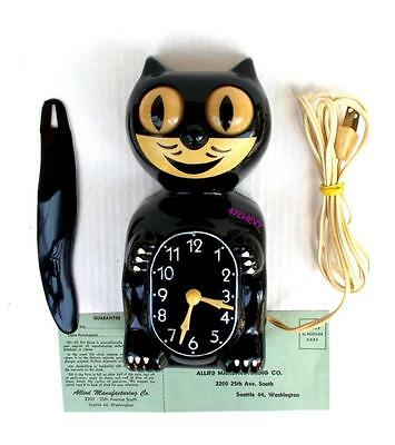 EARLY 50s-ALLIED-BLACK-KIT CAT KLOCK-KAT CLOCK-ELECTRIC-VINTAGE-ORIGINAL-WORKS