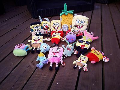 TY BEANIE and BEANIE BABIES SPONGE BOB MIXED COLLECTION