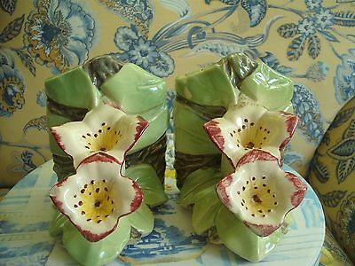 Vintage McCoy Pink & Green Lily Flower Pottery Bookends
