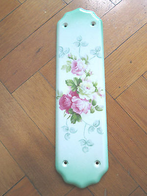 Old Floral Rose China Door Plate
