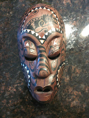 Authentic Wall Decor Hand Carved Wooden Mask MOP Mother of Pearl Inlay