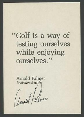 """ARNOLD PALMER signed 3.5""""x5"""" personal Golf Quote (Awesome Autograph)"""