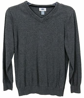 Old Navy Boys Size L 10-12 Charcoal Gray V Neck Long Sleeve Pullover Sweater