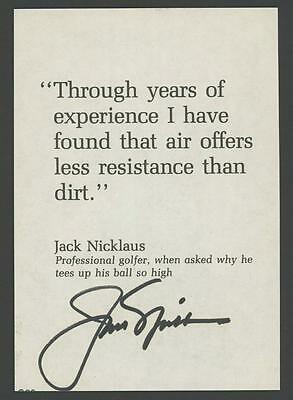 """JACK NICKLAUS signed 3.5""""x5"""" personal Golf Quote (Awesome Autograph)"""