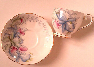 Bell Pink Blue Orchids Pattern 4642 Tea Cup And Saucer Lady's Slipper Teacup