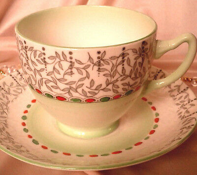 ADDERLEY c1940s SOFT GREEN VINE CHINTZ EMBOSSED HANDPAINTED TEA CUP AND SAUCER