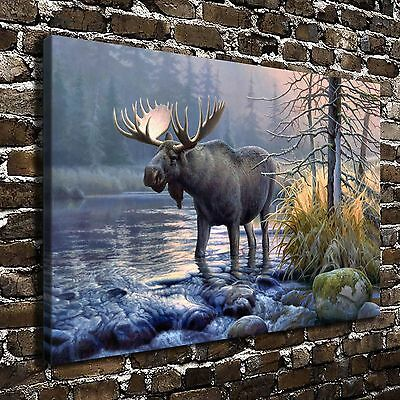 """Deer in the Mist HD Canvas Print 24""""x36"""" Home Decor Painting Wall Art Picture"""