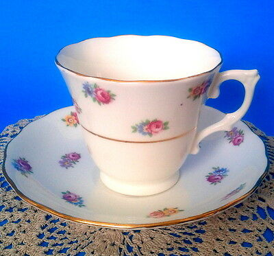 Colclough c1940s Pink Rose Buds White Teacup & Saucer Blue Yellow Flower Tea Cup