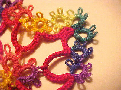 4 Tatted  LEAFS Festive Crochet Thread  Magnet Scrapbooking Crazy Quilt Tatting
