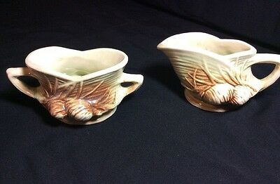 "Vtg 1940's Mc Coy Pottery ""pine Cone"" Cream & Sugar"