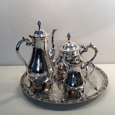 Vintage Silver Plated Tea & Coffee Set with Tray