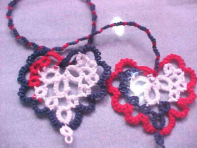 2 Tatted Bookmarks USA Heart to Heart or Hair Wraps Tatting By Dove Country